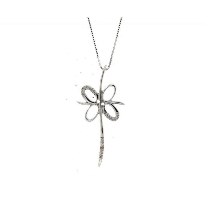 Collana con croce oro diamanti carati 0,06 G-VS1
