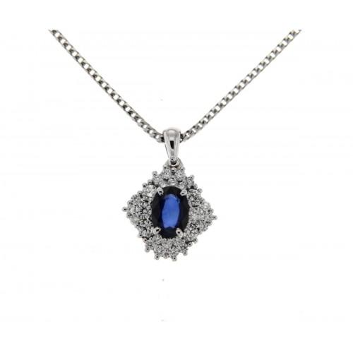 Collana zaffiro blu ct 1.08 diamanti carati 0,48 G-VS1