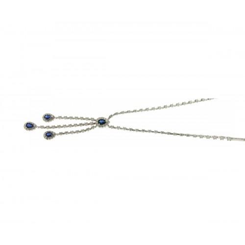 Girocollo semirigido con zaffiri e diamanti