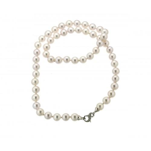 Girocollo di perle con diamanti carati 0,02 G-VS1