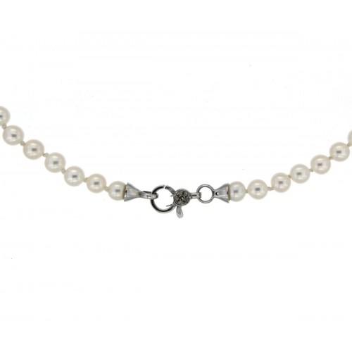 Girocollo di perle con diamanti carati 0,03 G-VS1