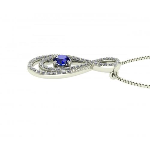 Collana infinito zaffiro blu ct 0.38 diamanti ct 0.21g-vs1