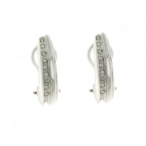 Orecchini semi cerchio con clip con diamanti carati 0,10 G-VS2