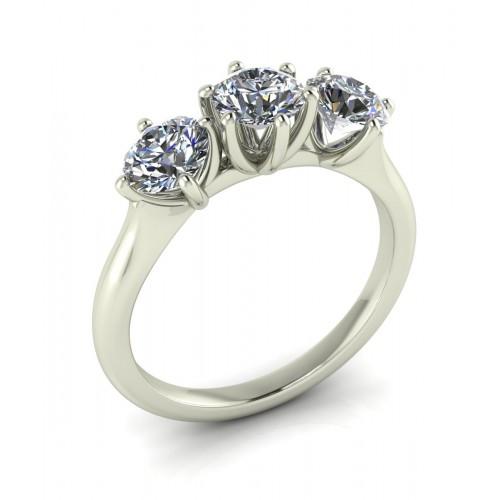 Anello trilogi in oro bianco con diamanti certificati gia carati 1.50 D-VS1