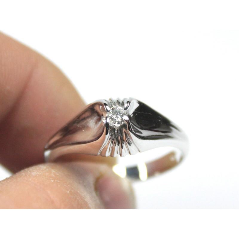 Anello solitario da uomo oro bianco diamante carati 0,16 G-VS1