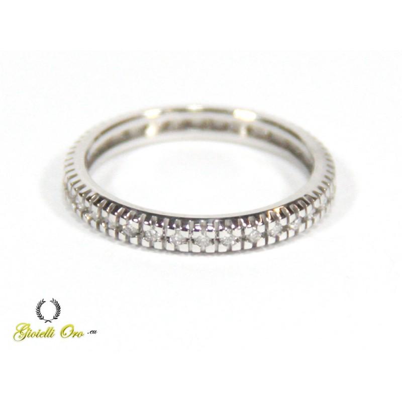 Anello veretta oro bianco con diamanti ct. 0,36 G-VS1