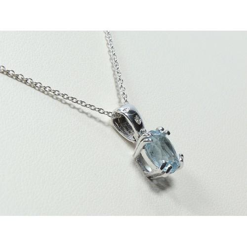 Collana con acquamarina carati 1,88 diamante  0,01 G-VS1