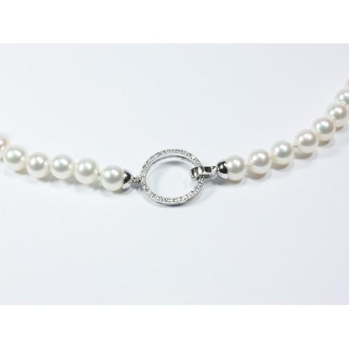 Girocollo di perle con centrale con diamanti carati 0,17 D-VVS1